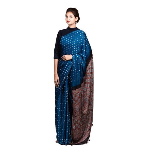 Party Wear Printed Ajrakh Modal Silk Saree, 6.5 Meter, With Blouse Piece,  Rs 7800 /piece | ID: 20775376362