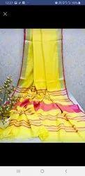 Ladies Yellow Banarasi Cotton Saree