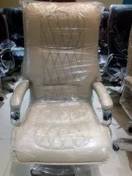 Leather Fixed Arms High Back Revolving Chair