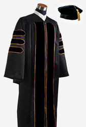 Deluxe Doctoral Graduation Gown With Velvet Banding With Hat