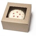 8K Small Kraft Cake Box with Scallop Window