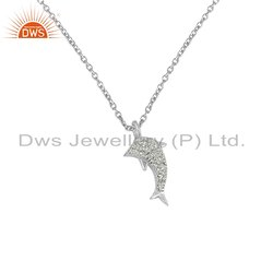 White Zircon Gemstone Fine Silver Fish Chain Pendant