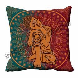 Multicolor Square Digital Human Printed Cushion for Home & Decorative