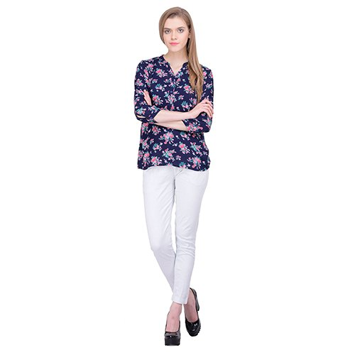 Navy Blue Flower Top