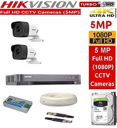 HIKVISION Full HD 5MP Cameras Combo KIT, 2 Bullet Cameras 1TB Hard DISC Wire ROLL Supply & All Re