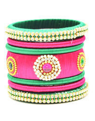 Green and Pink Silk Thread Bangle