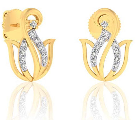 12d385850 Cdl Fineshine Yellow Gold Natural Diamond Earrings, 2.4 Grams 14k Solid Gold,  Packaging Type
