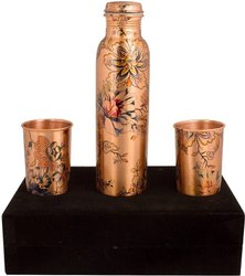 Copper Stylish Bottle And Glass Joint Free with Ayurvedic Benefited 100% Pure & Leak Proof