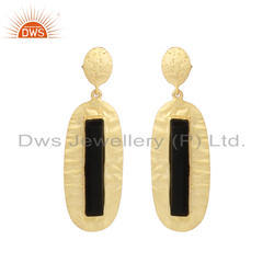 Natural Black Onyx Gemstone Designer Gold Plated Silver Earrings