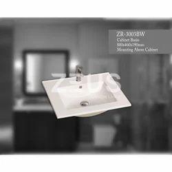 ZORO Ceramic 3003bw Couter Top Basin, Shape: Rectangular