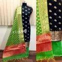 Party Wear Banarasi Silk Unstitched Dress Material