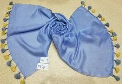 Casual Wear assorted 55% Linen 45% Modal Stole With 2 Side Pompom