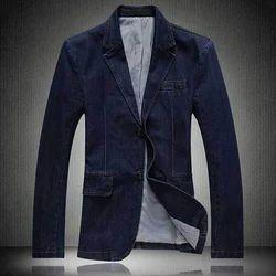 Plain Party Wear Denim Blazer