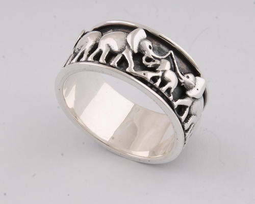 925 Sterling Silver Elephant Crown Spinner Ring Spinner Ring