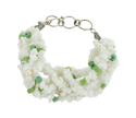 String White/ Green Glass Chips With Pearl & Cris Cap Toggle Bracelet