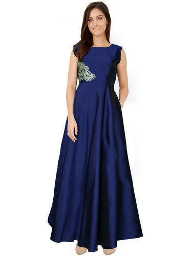 Women And Girls Ethnic And Western Designer Blue Gown (Long Dress ...
