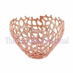 Designer look Aluminium Metal fruit Bowl copper finish