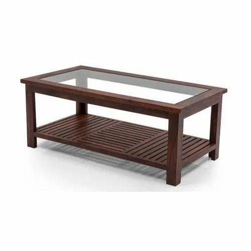 Rectangular Dark Brown Glass And Wood Coffee Table Rs 12000 Piece Id 21101152397