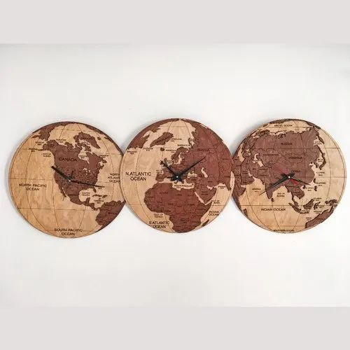 Wooden World Clocks 3D (Group Of 3)