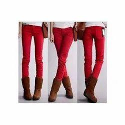 Ladies Red Denim Jeans