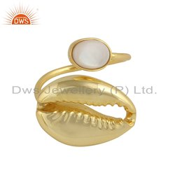 Mother of Pearl Cowrie Designer Yellow Gold Plated Silver Ring
