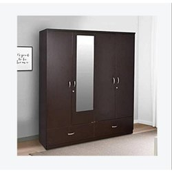 Brown 6.5 Feet Pre-Laminated Particle Board Wardrobe, For Home