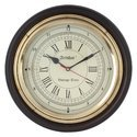 Antique Look Wall Clock With Brass Ring, 12 Inch Size, Coffee Colour For Living Room