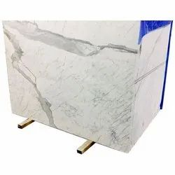 White Rectangular Statuario Marble Slab, Thickness: 15-20 mm