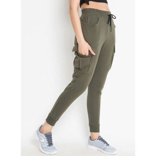 Olive Green Womens Plain Casual Jogger