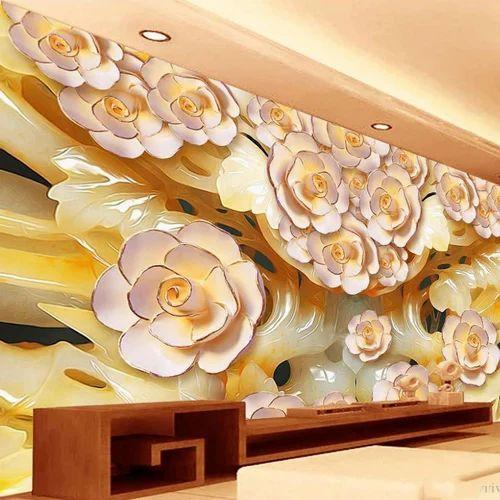 PVC Floral 3D Flower Wallpaper
