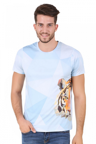 Crafted In Fine Poly-Cotton Fabric Men Animal Print Tiger Short Sleeve  T-Shirt 9139f8975