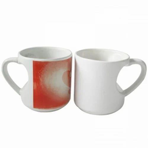 Printed White Heart Handle Mug