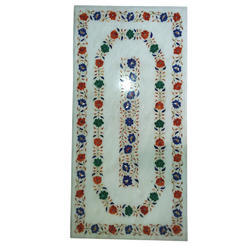 Table Top Micro Mosaic Semi Inlay Marquetry Mughal Decor