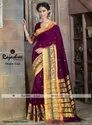 Rajashree Printed Double Embroidery Maroon Cotton Sarees, Packaging Type: Poly Bag, Box, 5.2 M (separate Blouse Piece)