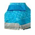 Sky Blue Chiffon Ladies Plain Border Saree, 6.3 M (with Blouse Piece)