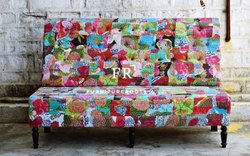 Resort Furniture Sofas - Indian Recycled Fabric Loveseat - Cafe Furniture Sofas