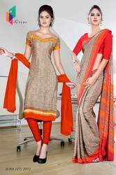Orange and Light Brown Italian Crepe Uniform Saree Kurti Combo