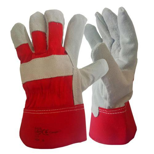Heavy Duty Double Palm Reinforced Rigger Leather Work Gloves Safety Gauntlets