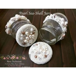 Pearl Sea Shell Decorative Glass Jars, Packaging Type: Box