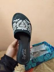 Women Avoid Water Leather Embroidered Slipper, Size: 5 To 10