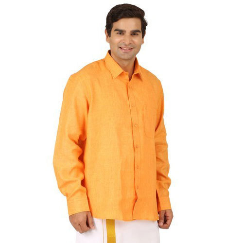 Linen Plain Mango Yellow Full Sleeve Shirt b6935e837