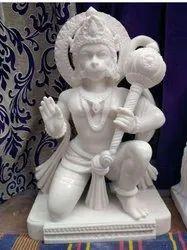 Hanuman Ji White Marble Statue