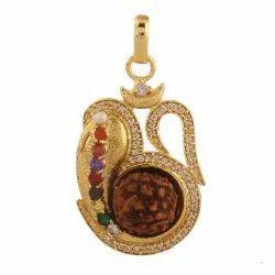 Gold Plated Navratan Rudraksha Ganeshji Pendantc