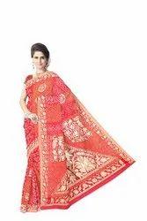 All Over Maroon Color Fancy Design  Banarasi Georgette Saree