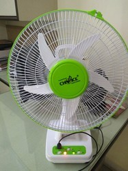 Plastic WHITE BODY WITH DESIGNER BLUE AND GREEN COLOUR AC DC Table Fan