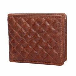 Tan Diamond Leather Bifold Wallet