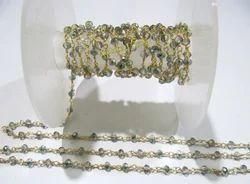 Hydro Quartz Green Peacock Pyrite Beaded Chain