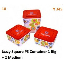 Moisture Proof Plastic 3 Container Jazzy Square PS