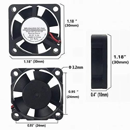 CentIoT 30MM 5V 30 x 30 x 10MM 3010 DC Brusless Cooling Fan