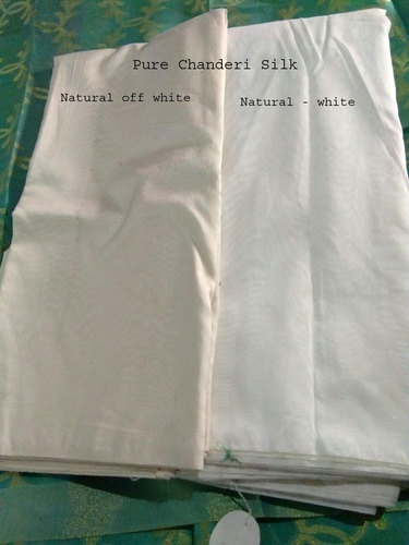 Plain Natural Off White Dyeable Pure Chanderi Silk Fabric